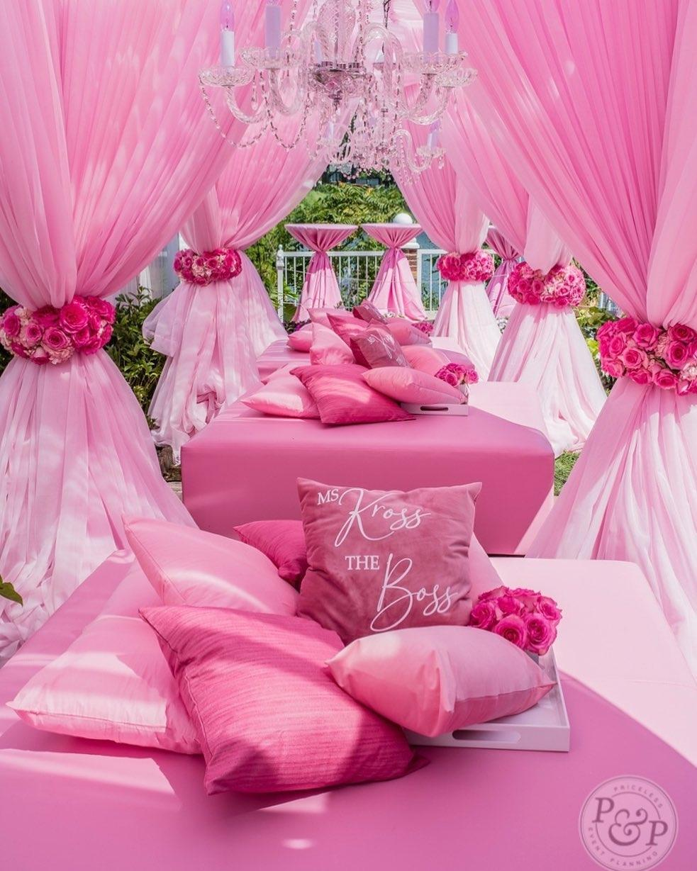 Nikita Gibsons Pink Baby Shower Decor Party and Maternity and Pregnancy Baby Bump Photoshoot