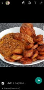 Beans stew with fried plantain/ fried fish