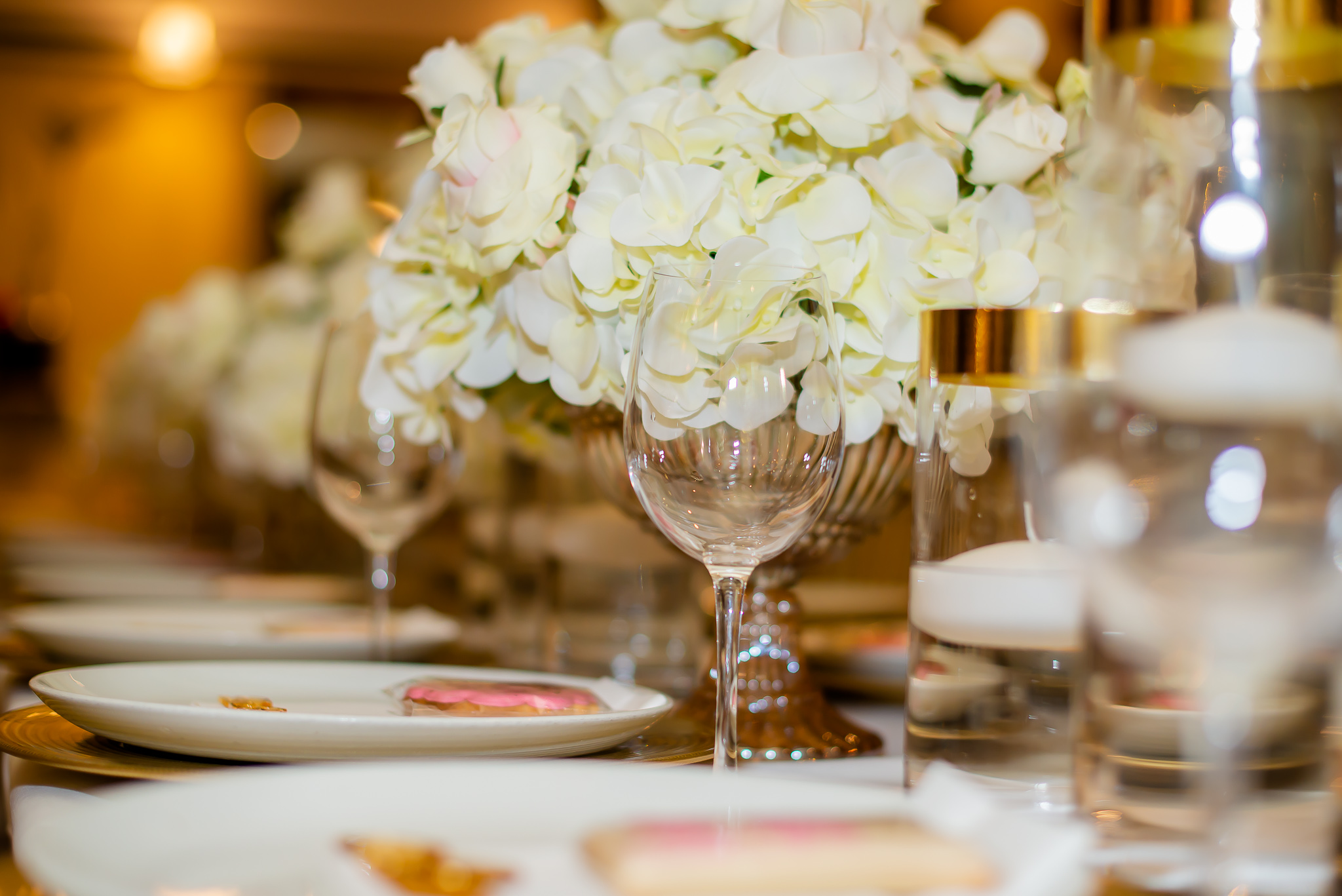 White dinner hall fancy prepared for wedding dinner - The Bailey Events Black Event and Wedding Planner