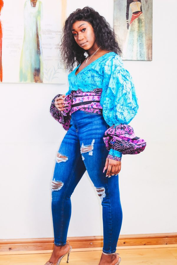 Shop Blue Ivy Ankara Print Wrap Top - African Fashion by Yvoenne Irenroa via My Precious World marketplace for black community