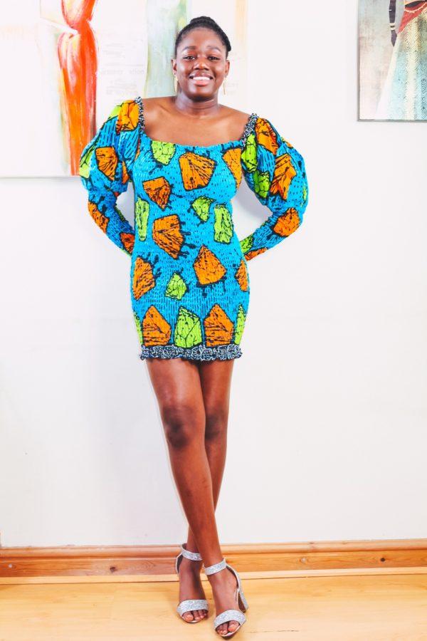 Shop african fashion wear for Konko Below Ankara African Print Bodycon Mini Dress by Yvonne Irenroa African Fashion Clothing