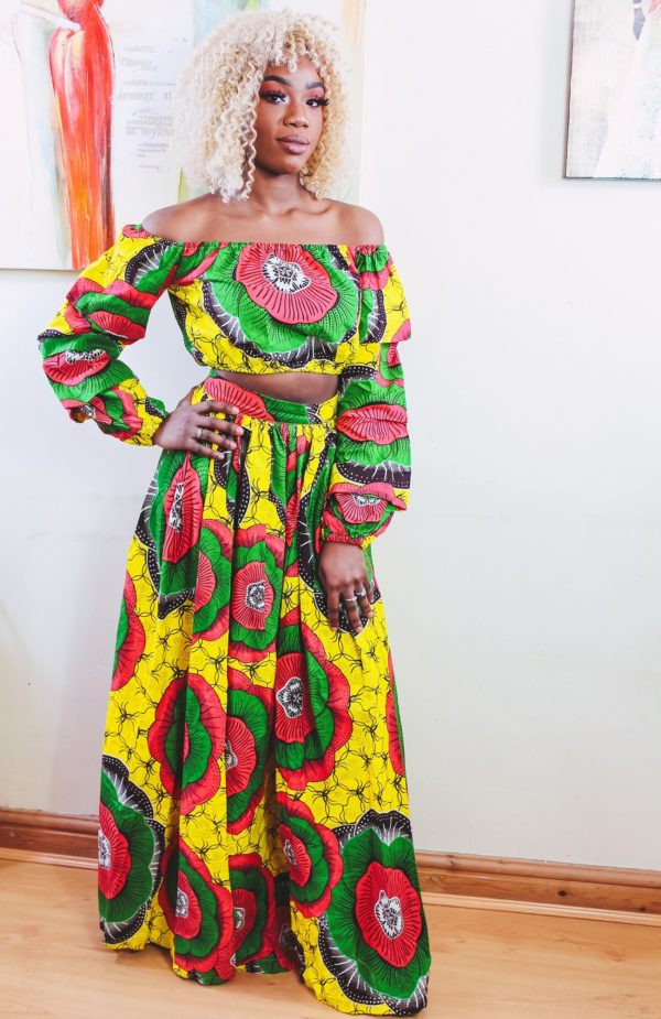 Gloria Agbe in Sunflower 2-piece Ankara Print Crop Top and thigh-High Split Maxi Skirt by Yvonne Irenroa African Fashion