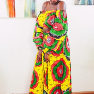Angellicme in Sunflower 2-piece Ankara Print Crop Top and thigh-High Split Maxi Skirt by Yvonne Irenroa African Fashion