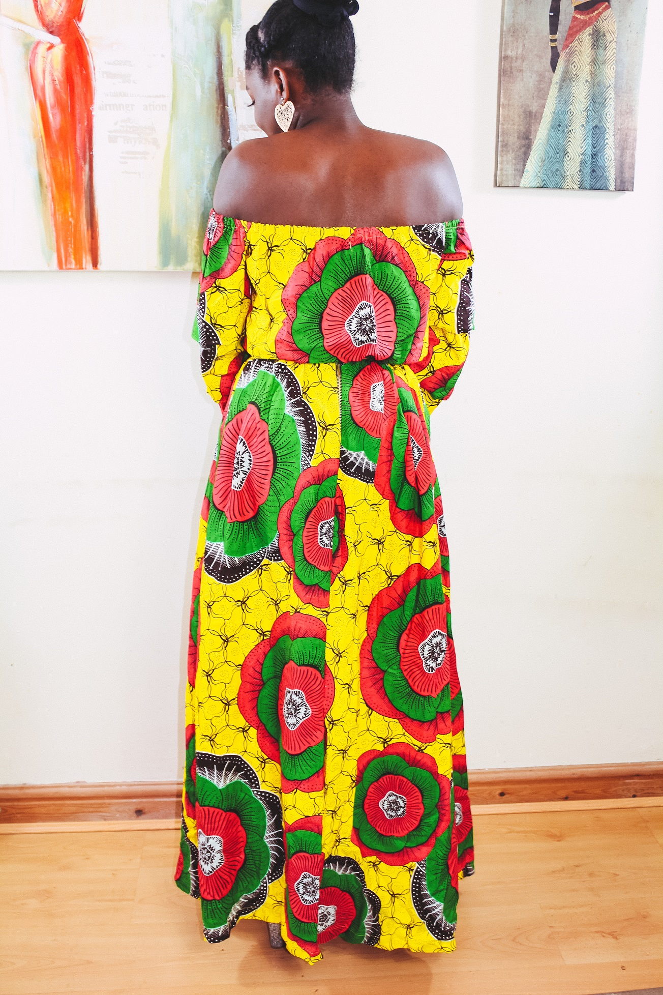 Angelle Fenton in Sunflower 2-piece Ankara Print Crop Top and thigh-High Split Maxi Skirt by Yvonne Irenroa African Fashion