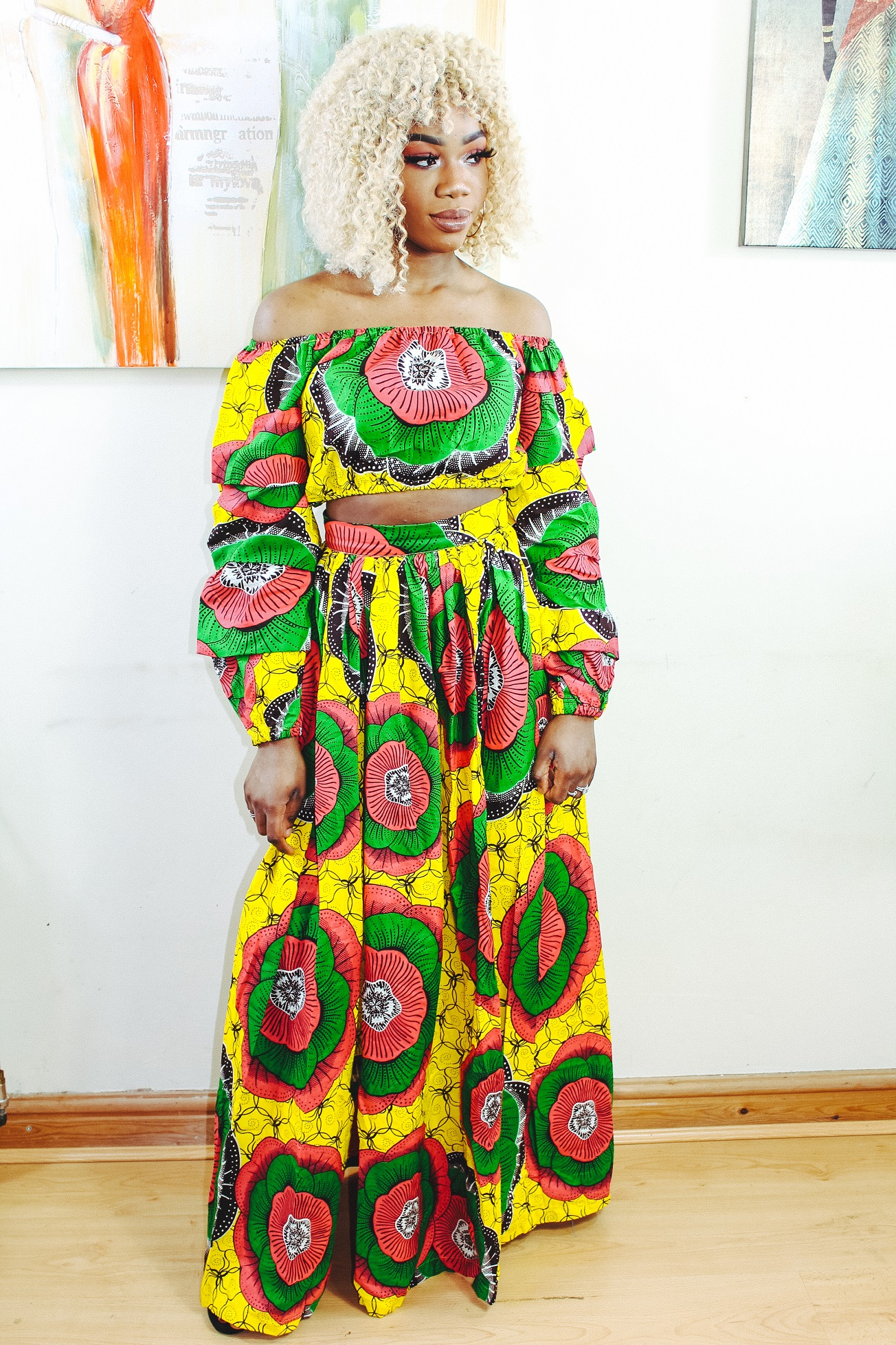 Black Queen in Sunflower 2-piece Ankara Print Crop Top and thigh-High Split Maxi Skirt by Yvonne Irenroa African Fashion