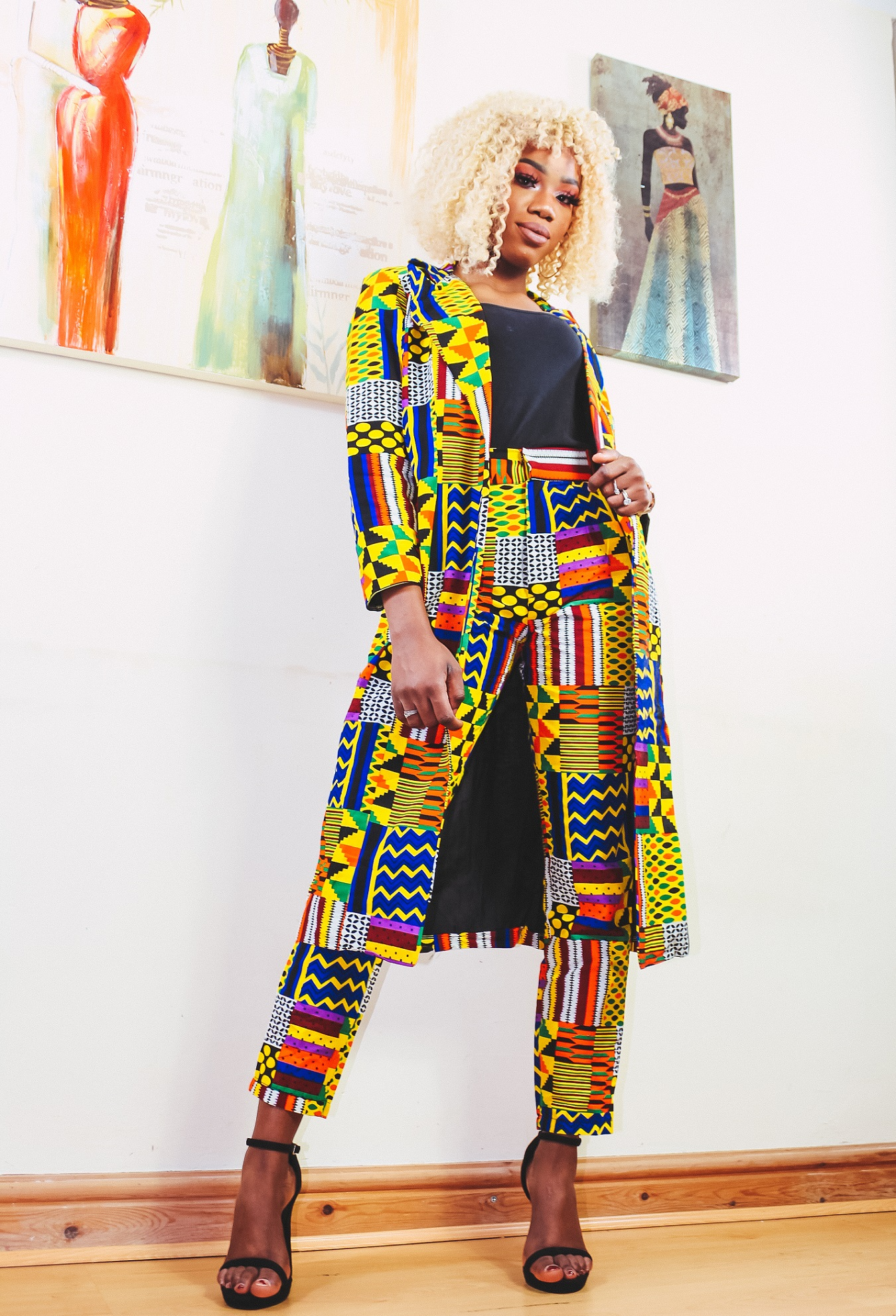 Uzuri Kente Print Jacket and Ankle Length Trousers
